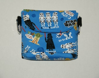 """2 Way Hip Bag / Fanny Pack With Belt Loop and Carabiners Made with Japanese Cotton Oxford Fabric """"Star Wars - Blue"""