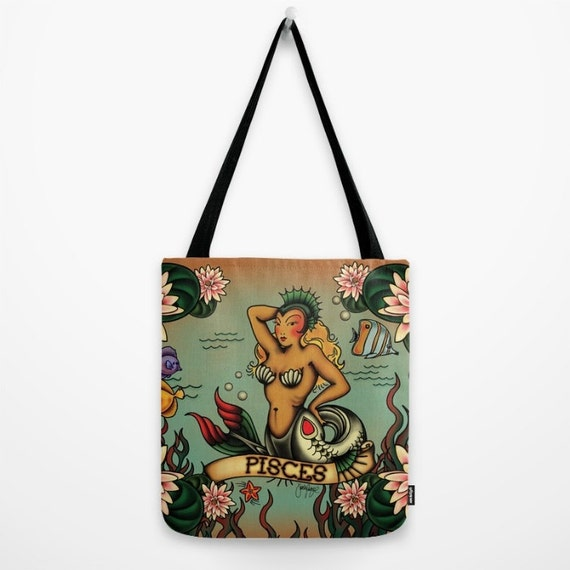 Tattoo Pisces Tote Bag