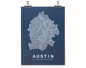 Austin Neighborhood Map - White on Navy