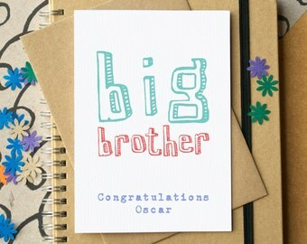 Big Brother Card - personalised big brother card - new baby card for sibling - new sibling card - newborn baby card - card for big brother