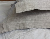 Durable Linen 100% Flax Pillow Sham Oxford Oatmeal Beige - Washed Softened Rough Style - Standard Queen King Euro - Heavy weight Linen
