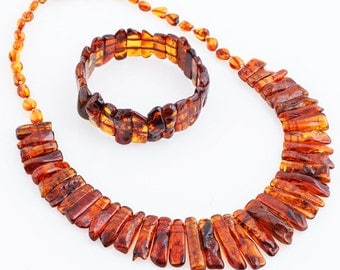 Red Bracelet; Red Necklace; Red Set; Christmas gift; for her; Xmas gift; Baltic Amber