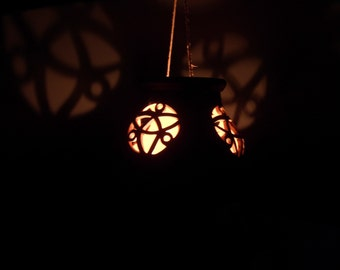 Terracotta CELTIC DECOR Lantern planter pot to hang fretwork ANTIQUED italian pottery
