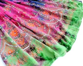 Tie Dye Skirt: Long Gypsy Skirt, Boho Maxi Skirt, Sequin Skirt, Festival Clothing, Bohemian Hippie Skirt, Bollywood Indian Floral Skirt
