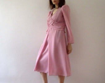 Vintage 70s Pastel Petal Pink Ruched Beaded Formal Party Baby Doll Dress Medium