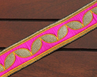 1 yard-Multi-colored Jacquard Ribbon-Sari Fabric Trim-Table Runner-Art Quilt fabric trim-Designer Silk Saree Border Trim-Brocade Fabric Trim