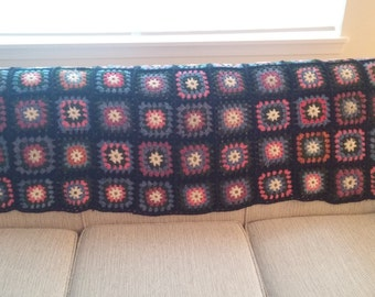 Vintage 70s Colorful Granny Square Brown Knit Blanket // Throw // Afghan