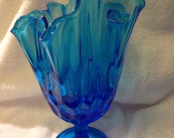 """DBlue Fenton Large Ruffle Vase 9"""""""