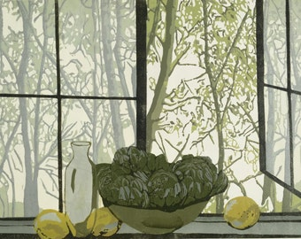 The Kitchen Window , large two block linocut from a small edition