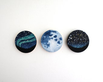 Night Sky Magnet Paintings - Miniature Paintings