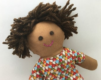 JULIA--cloth doll in fish scale dress--brown skin, dark brown hair, brown eyes (FREE shipping in USA)