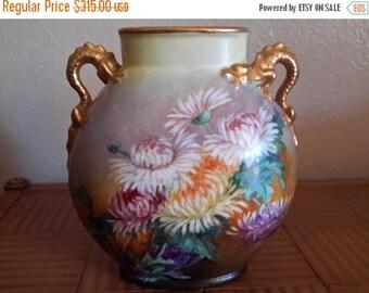 ON SALE Antique JEAN Pouyat Limoges Hand Painted Vase Dragon Handles Chrysanthemum Flowers Jpl Porcelain