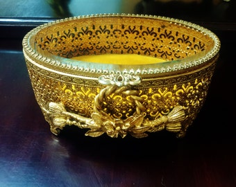 24K Gold Stylebuilt Vanity Jewelry Box Rope and Tassel Gold Plated Ormolu Style Beveled Glass Hinged Lid Footed Trinket Box