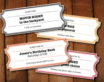 Printable Coupons /  Tickets / Vouchers - Movie Night Colors - DIY Printable Microsoft word file to make your own tickets
