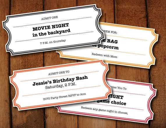 Elegant Printable Coupons / Tickets / Vouchers   Movie Night Colors   DIY Printable  Microsoft Word File To Make Your Own Tickets To Make Your Own Voucher