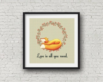 Woodland Nursery, Fox Wall Art, Nursery Decor, Kids and Baby, Nursery Decor