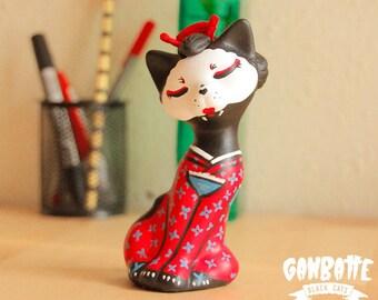 Geisha Cat Figurine - Cat Sculpture Geisha - Kimono Japanese art - japan cat - Geisha cat - Handmade Unique Cat Figure