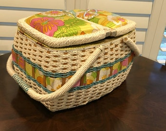Vintage Wicker like Sewing Basket woven texture retro look for that swanky cottage art room fabric top jc pennys