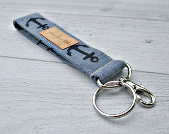 Blue Anchor Key Fob | Chambray and Navy Anchor Wrist Strap Key Chain