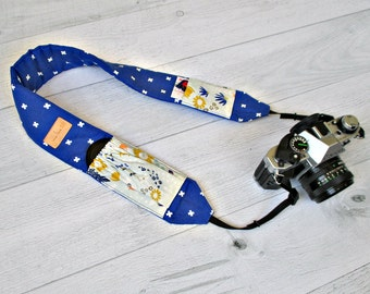 Padded Camera Strap with Pockets. Royal Blue DSLR Strap with Wildflower Lens Pockets. Cobalt Pocket Camera Strap. SLR Strap. Gift for her.