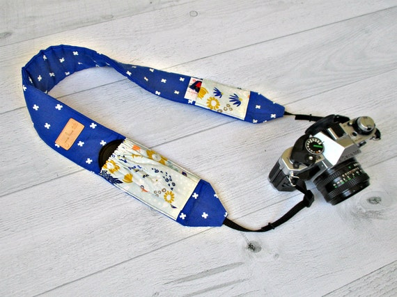 Padded Camera Strap with Pockets | Royal Blue DSLR Strap with Wildflower Lens Pockets