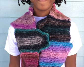 Cowl, Handknit in Noro Yarn, Luxurious in shades of Lavender, Blue, Pink