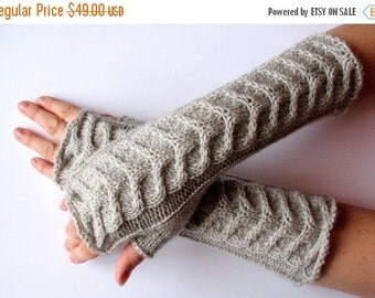 "Gray Fingerless Gloves Light Gray Long 14"" Mittens Arm Warmers, Acrylic Wool"