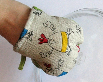 Easter Oven Mitt Quilted Oven Glove Valentines Day Gift Rooster Cock Hen Chicken Kitchen Decor Insulated Pot Holder Housewarming Gift