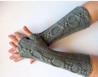 Fingerless Gloves Gray 12 inch wrist warmers