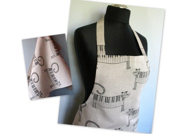 Linen Kitchen kit Utility Apron Womens Aprons for women Valentines Day Easter Apron Towels Natural Gray Music Piano Cat Black