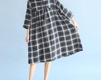 Autumn Leisure doll dress Plus size cotton and linen dress