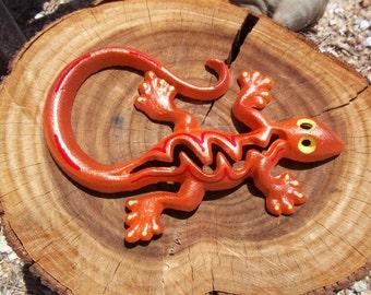 Cast Iron Gecko, Lizard, Home Decor, Garden Decor, Orange Sparkle, Yellow and Red