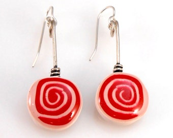 Red and White Swirl Christmas Earrings