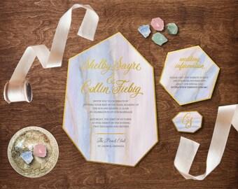 Geométrica ágata boda invitación - Boho de invitación de boda - invitación de la boda de cristal - invitación de la boda - TheFindSac