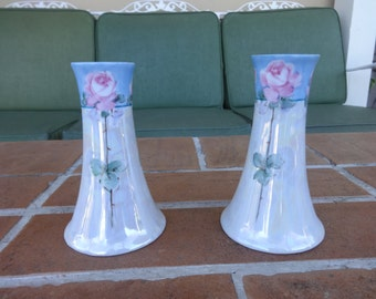 "lot of 2, vintage Nippon Japan 5"" hat pin holders roses vanity early 1900's cottage chic Pink"