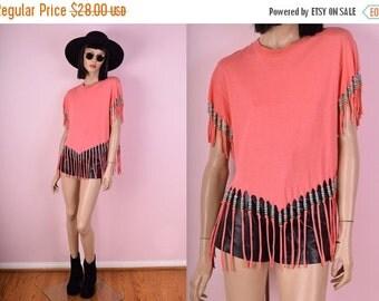 SUMMER SALE 90s Beaded Fringe Tshirt