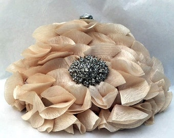Wedding clutch, formal evening bag,  bridesmaid clutch, vintage inspired clutch, bridesmaid bag,Champagne ruffle clutch, Ivory bridal bag