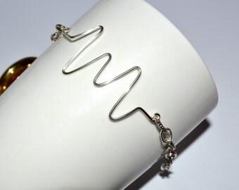 Heart Rate Bracelet, Wire Jewelry, Heartbeat Chain Bracelet, Cardiac Monitor, Nurse Jewelry, Silver Wire, Wire Writing, Geeky Jewelry