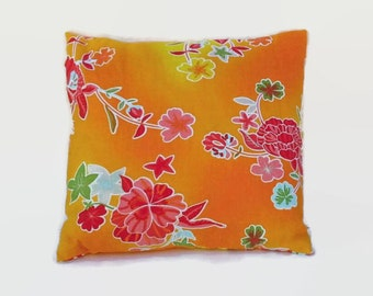 Colorful Floral Orange Accent Throw Pillow Cover 18 Inch Square Upcycled 18 X 18