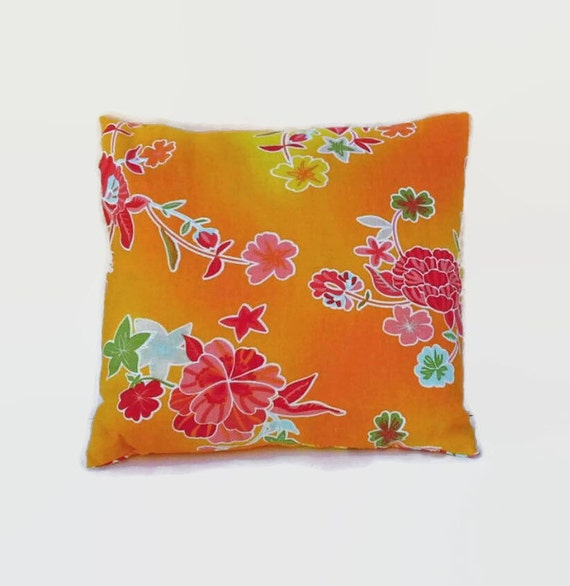 Colorful Floral Orange Accent Throw Pillow Cover 18 Inch