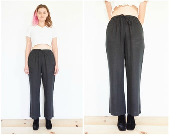 90s Sheer Black Linen Drawstring Pants