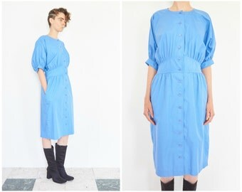 80s Sky Blue Cinched Waist Shirt Dress