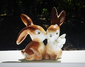 Pair of Cute Vintage Bunnies Rabbits With Flower