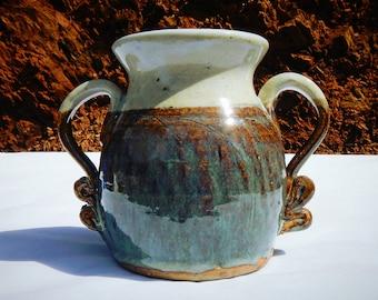 Ceramic Handmade Vase Vintage Wheel Thrown Vessel With Handles