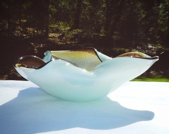 Hand Blown Art Glass Vintage Ashtray Tri Freeform Glass
