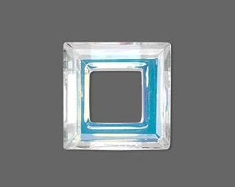 Glass Component 20mm by 20mm Faceted Open Square Focal 4439
