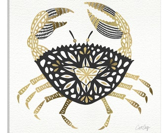 iCanvas Black Gold Crab Artprint Gallery Wrapped Canvas Art Print by Cat Coquillette
