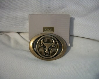 Vintage Avon Country Style Bull Belt Buckle