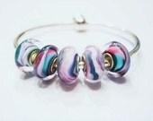 5 Pastel Creme, European, Glass Lamp work, Large Hole, Charm Bracelet Beads, Single Core, Euro