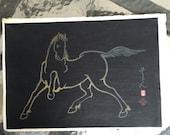 Japanese woodblock print Sonan Noda 1952 large woodcut art Kyoto Hanga-In Ukiyo-e 1964 signed gold horse
